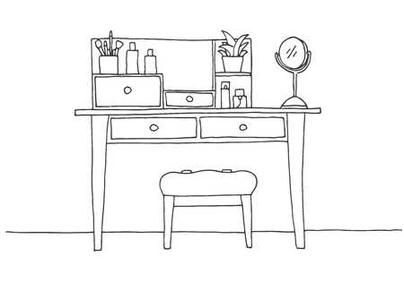 Dressing table in sketch style. Vector illustration is hand drawn. Ilustração
