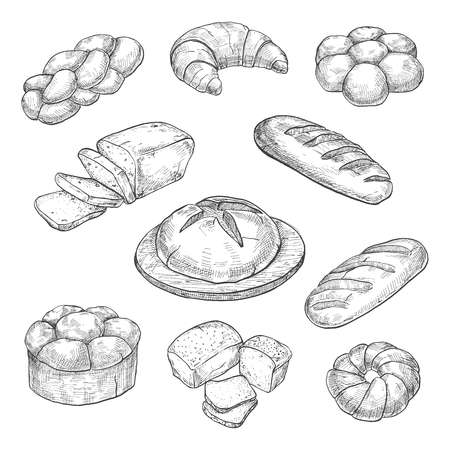 tommy: Buns, croissant, loaf, bread, baking isolated on white background. Vector illustration of a sketch style.