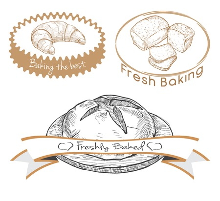 tommy: Set of labels for the baked product. Vector illustration of a sketch style. Illustration