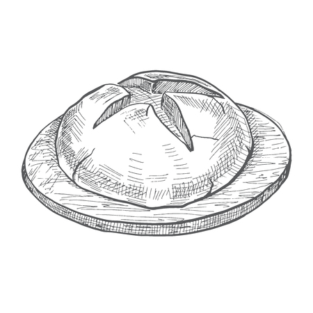 Lloaf of bread on a wooden round board. Vector illustration of a sketch style. Illustration