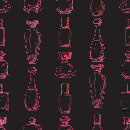 odors: Pattern with perfume bottles.