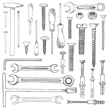 도구, 하드웨어의 집합입니다. 다른 패스너 흰색 배경에 고립입니다. 손으로 그린 스케치 스타일의 벡터 일러스트 레이 션. 일러스트