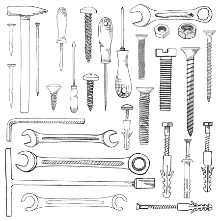 Set of tools, hardware. Different fastener isolated on white background. Hand drawn vector illustration of a sketch style. Ilustração