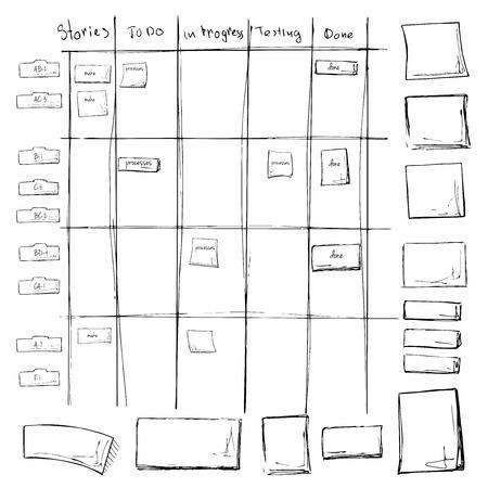 Scrum task board. Processo ágil na mesa de quadro branco com notas adesivas. Ilustração do vetor no estilo de esboço. Ilustración de vector