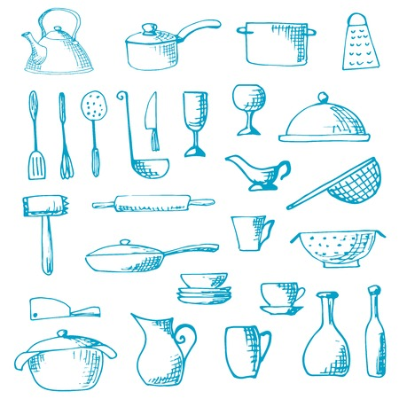Set of hand drawn cookware. Vector illustration. Sketch drawn by a blue pen Illustration