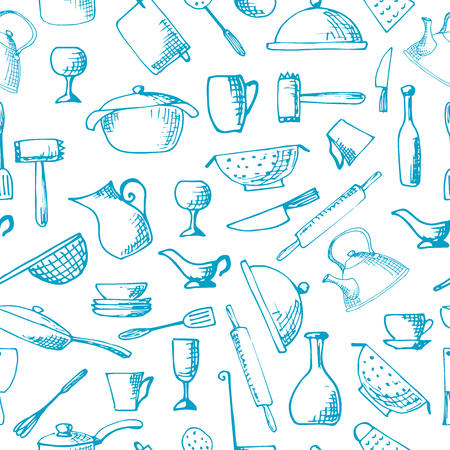 slotted: Set of hand drawn cookware. Vector illustration. Seamless pattern