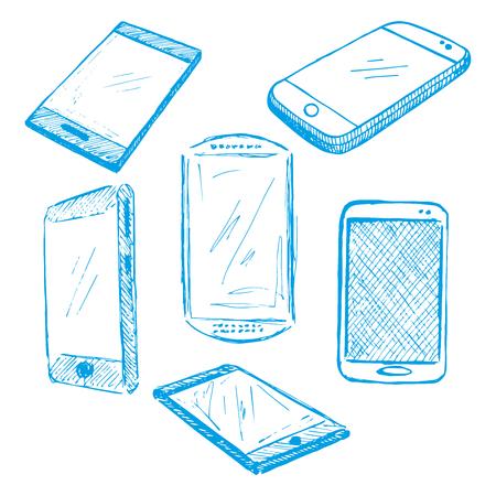 Sketch different phones, smartphones. Hand made vector illustration.