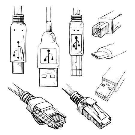 Set of data connector plug: different USB types, and RJ45 8P8C . Collection of vector illustration in sketch style.