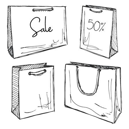 Set di borse per la spesa isolato su sfondo bianco. Illustrazione vettoriale di uno stile di schizzo. Vendita di iscrizione.