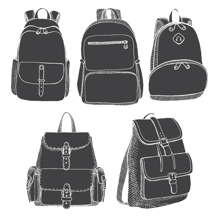 Set of different backpacks, men, women and unisex. Backpacks isolated on white background. Vector illustration in sketch style.
