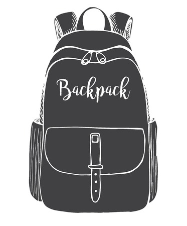 Sketch of a rucksack. Backpack isolated on white background. Vector illustration of a sketch style. Ilustracja