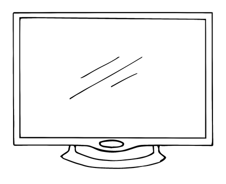 lcd display: Sketch TV isolated on a white background. Monitor. Vector illustration.