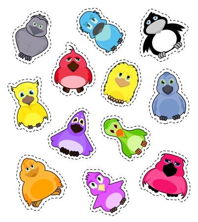 Set of stickers cute colorful cartoon birds.