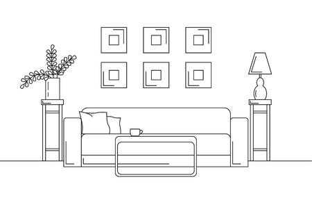 Canapé, table, vase avec des fleurs. Table de chevet, lampe de bureau. Croquis linéaire de l'intérieur dans un style moderne.