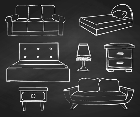 Sketch Set Isolated Furniture. Drawn Chalk On A Chalkboard.Vector  Illustration In A Sketch