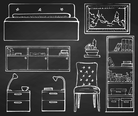 Sketch set isolated furniture. Hand drawn chalk on a chalkboard.Vector illustration in a sketch style.