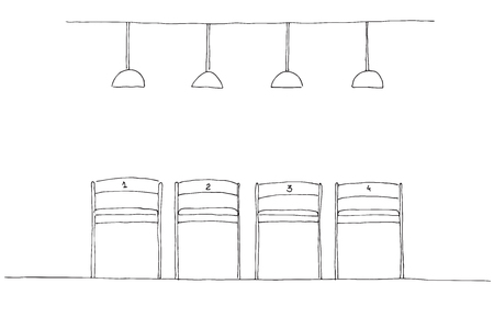 Row of chairs and lamps hanging above. Ilustração
