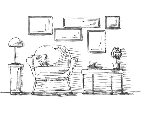 Hand drawn chair, table with a plant and a cup. On the wall hang the frame. Vector illustration of a sketch style.