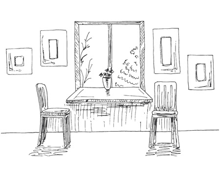 Hand drawn window with a wide window sill. Next to the two chairs, on the wall of the frame. Vector illustration of a sketch style.