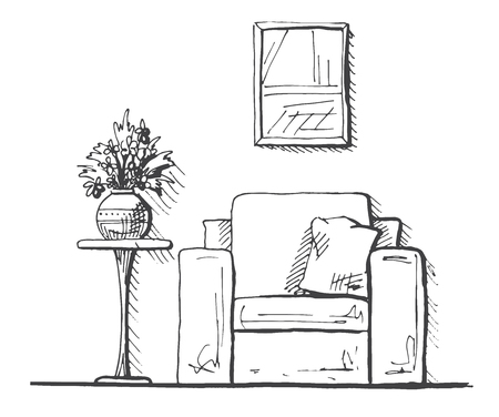 Armchairs and a high table. Vase with flowers on the table. Hand drawn interior. Vector illustration in sketch style Illusztráció