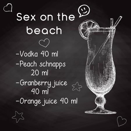 Einfaches Rezept für einen alkoholischen Cocktail Sex On The Beach. Zeichnungskreide auf einer Tafel. Vektorillustration einer Skizzenart.