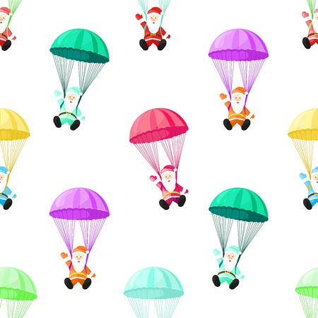 Santa Claus with a parachute. Vector illustration in cartoon style. Seamless pattern. Christmas picture.