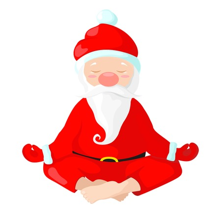 Santa Claus sits in a lotus position. Santa Claus is engaged in yoga. Vector illustration in cartoon style. Santa isolated on white background