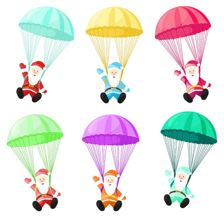 Set Santa Claus with a parachute. Vector illustration in cartoon style. Santa Claus isolated on white background. Christmas picture.