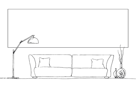Linear sketch of the interior. Part of the room. Frame on the wall for Fitting Your information. Hand drawn vector illustration of a sketch style.