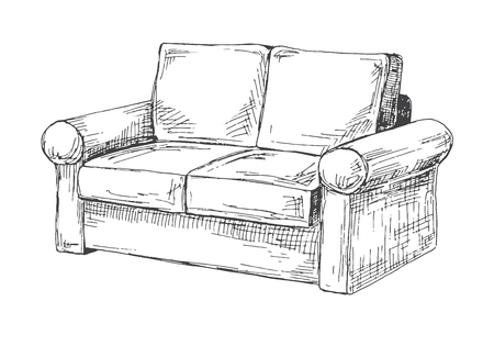 Sofa isolated on white background. Vector illustration in a sketch style. Illustration