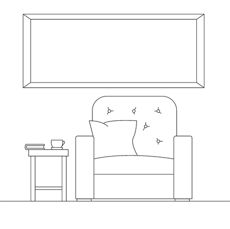 Linear sketch of the interior in a modern style. Frame on the wall for Fitting Your information.
