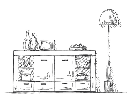 Chest of drawers, lamp and decoration. Vector illustration of a sketch style.