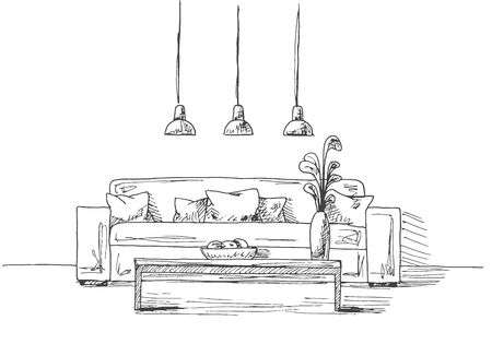 Sofa with pillows, a vase on the table. Three low-hanging lamp over the table. Hand drawn vector illustration of a sketch style Illustration