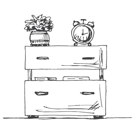 Bedside table with a alarm clock. Vector illustration in sketch style.