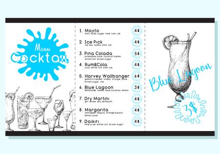 Cocktail menu in sketch style illustration. 일러스트