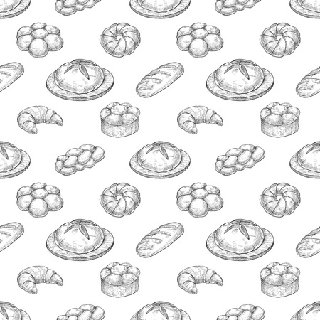 Seamless pattern with different bakery products. Illustration of a sketch style.