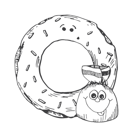 Hand drawn donut and candy in the cartoon style. Vector illustration of a sketch style.