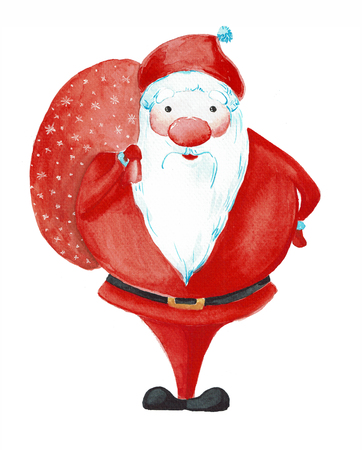 Cartoon Santa Claus painted watercolor with bag isolated on white background.Postcard for Christmas and New Year.