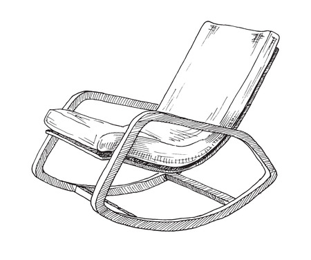 Rocking chair isolated on white background. Sketch a comfortable chair. Vector illustration.  イラスト・ベクター素材