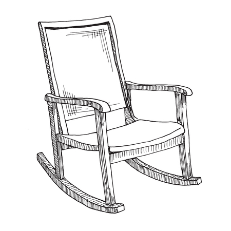 Rocking chair isolated on white background. Sketch a comfortable chair. Vector illustration. Illustration