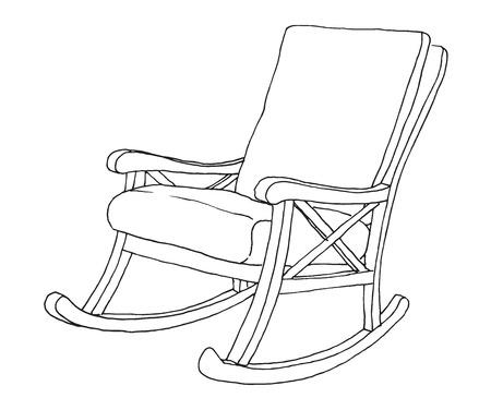 Fauteuil à bascule isolé sur fond blanc. Esquissez une chaise confortable.
