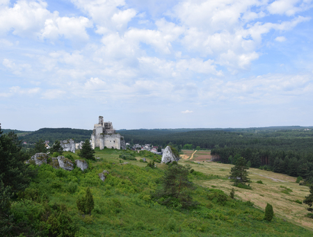 Ruins of medieval king castle Mirow in Poland.