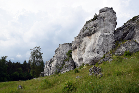Rock formation in Krakow Czestochowa Upload. Polish Jurassic Highland. Stock Photo - 96467748