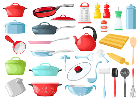 Set of cookware isolated on white background. Vector illustration. Kitchen utensils.
