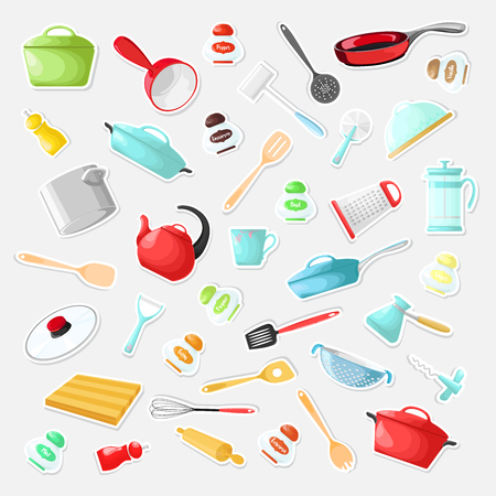 Set of stickers with utensils in a cartoon style. Vector illustration.