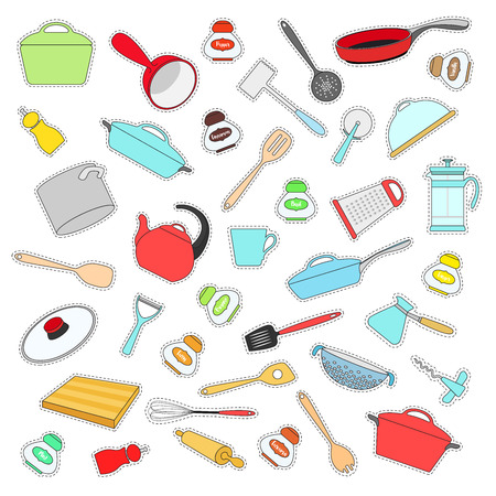 Set of labels with dishes in a flat style. Vector illustration. Illustration