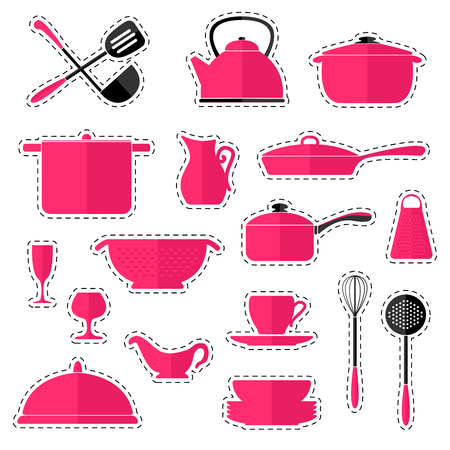 Set of stickers cookware isolated on white background.
