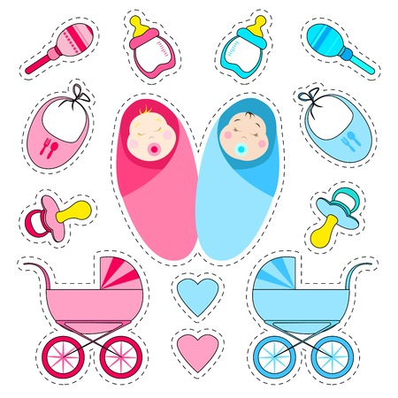 Stickers set for the birth of a child.