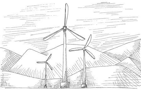 Hand drawn windmills on the background of mountains. Vector illustration of a sketch style.