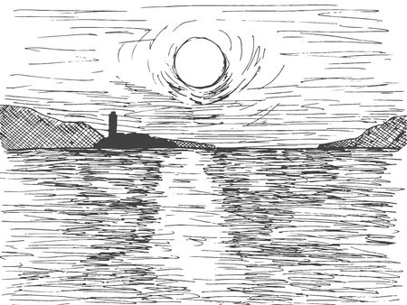 Hand drawn sunset sun over the sea. On the horizon is a mountain and a lighthouse. Vector illustration of a sketch style. Ilustração
